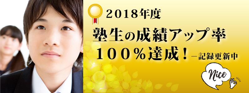 2018年度 塾生の成績アップ率100%
